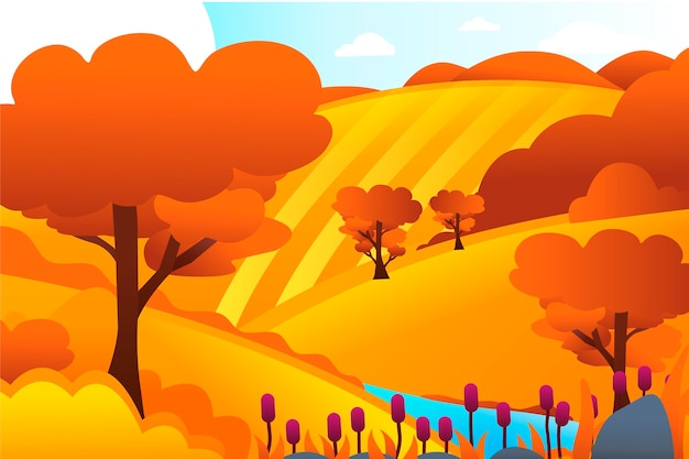 Countryside landscape with hills Free Vector