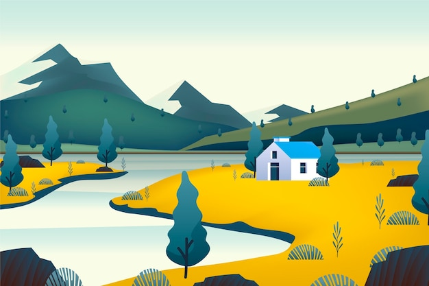 Countryside landscape with house Free Vector