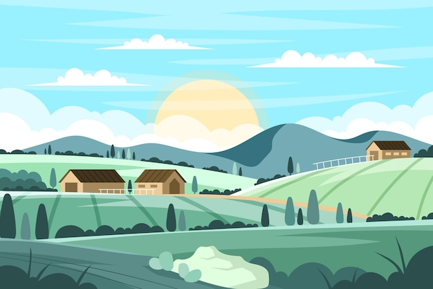 Countryside landscape with houses Free Vector