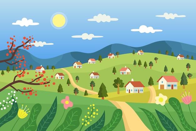 Paesaggio di campagna con case Vettore gratuito