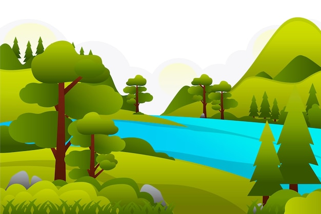 Countryside landscape with lake Free Vector