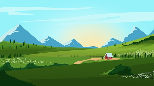 Countryside landscape with mountains Free Vector