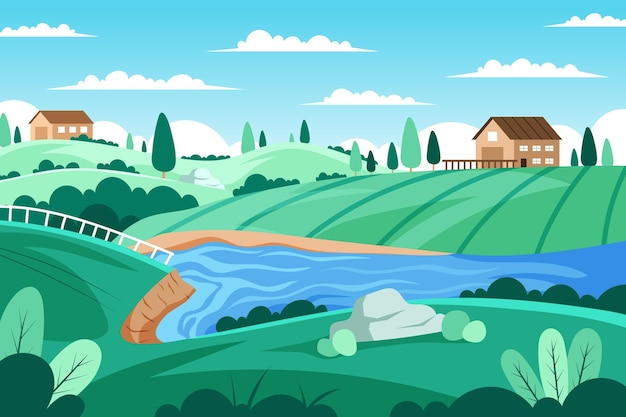 Countryside landscape with river and houses Free Vector