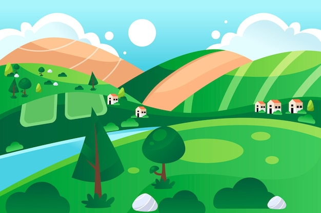Countryside landscape with river and meadow Free Vector