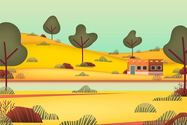 Countryside landscape with river and trees Free Vector