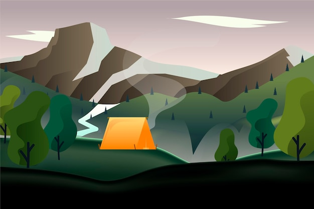 Countryside landscape with tent Free Vector