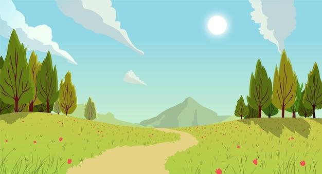 Сельский пейзаж с тропой и горами Бесплатные векторы