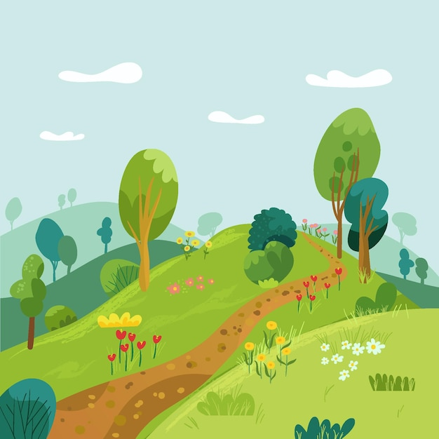 Countryside landscape with trail Free Vector