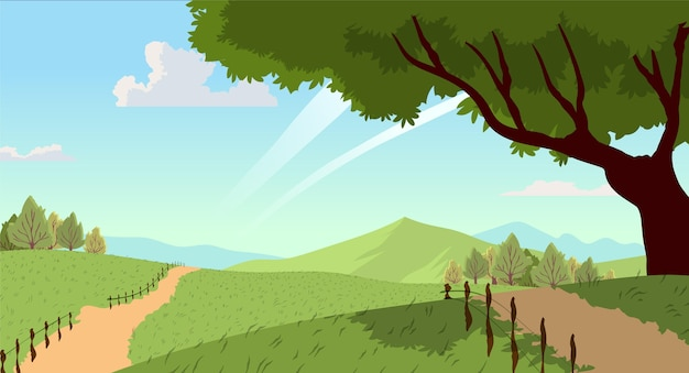 Countryside landscape with tree Premium Vector