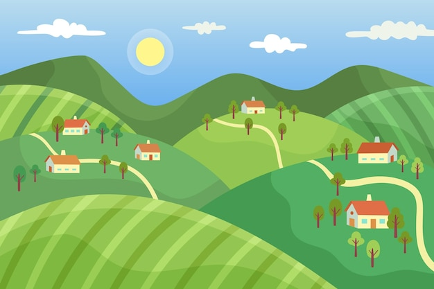 Countryside landscape with village Free Vector