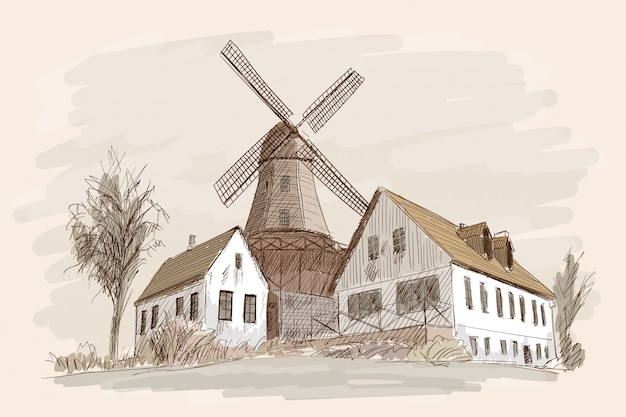 Countryside landscape with wooden houses and a mill. pencil hand sketch on a beige background. Premium Vector