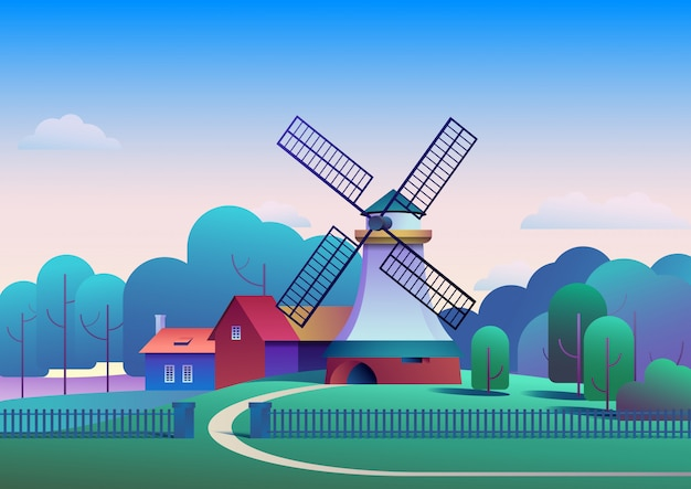 Countryside morning landscape with mill and farm on meadow trees and forest on background Premium Vector