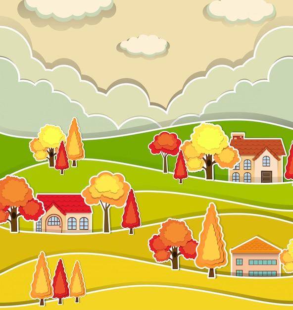 Сельская сцена с домами и деревом осенью Бесплатные векторы