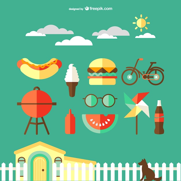 Countryside travel icons vector Free Vector