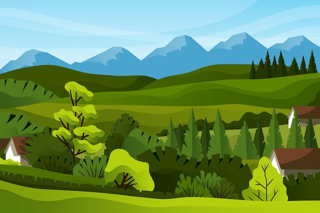 Сельская деревня и горы Premium векторы