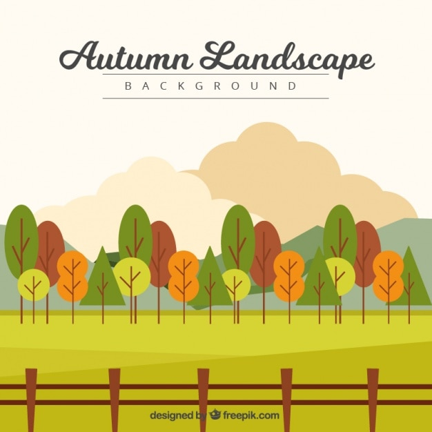 Countryside with trees and a fence Free Vector