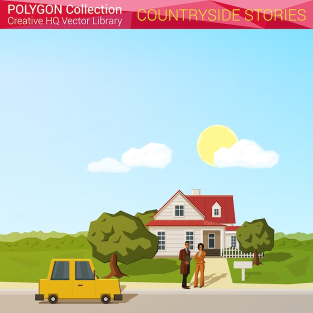 Countyside landscape concept. people with car near house polygonal style illustration. Free Vector
