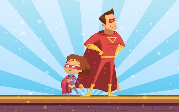 Couple of adult and child cartoon superheroes in red  cloaks standing proudly at sunlight background Free Vector