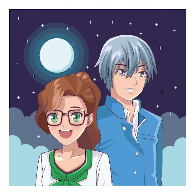 Couple anime manga Premium Vector