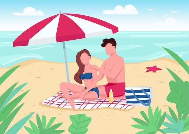 Couple applying sunblock lotion on beach  color  illustration. Premium Vector