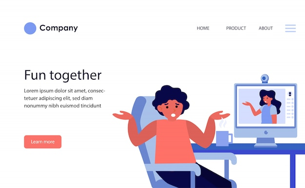 Пара, спорящая во время онлайн-видеочата. шаблон веб-сайта или целевая страница Бесплатные векторы