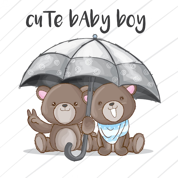 Couple baby bear hand drawn animal Premium Vector