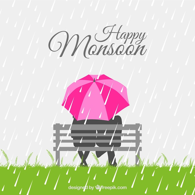 Couple background with umbrella sitting on a bench