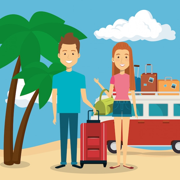 Couple in the beach characters Free Vector