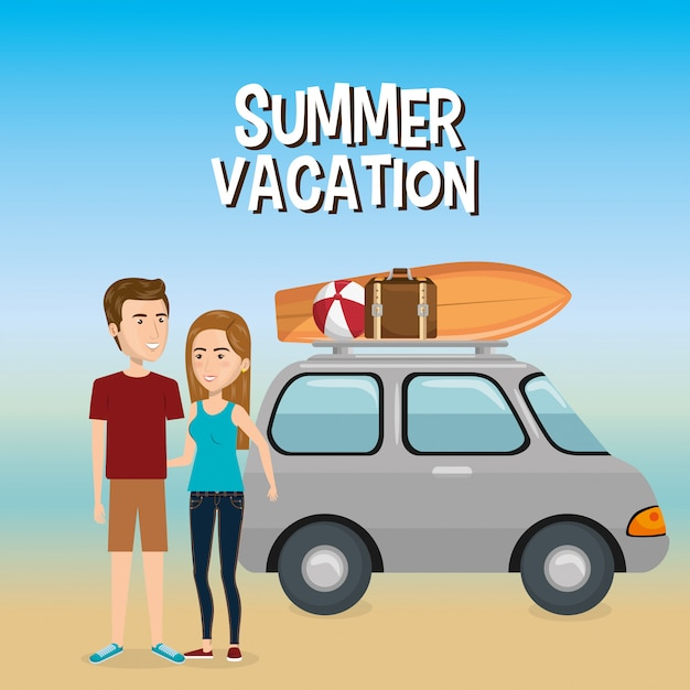 Couple in the beach summer vacations Free Vector