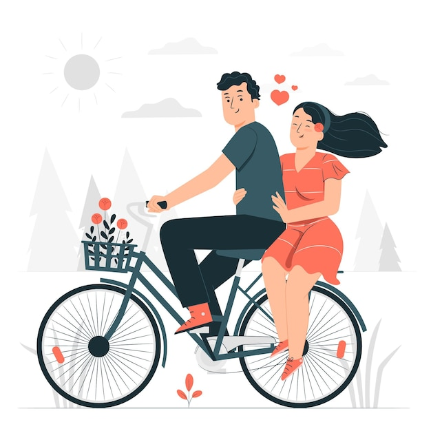 カップル自転車コンセプトイラスト 無料ベクター