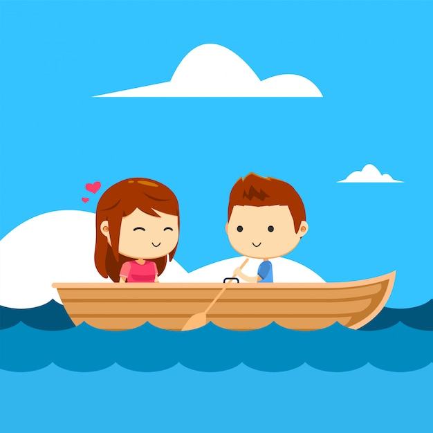 A couple in a boat Premium Vector