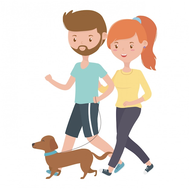 Couple of boy and girl with dog Free Vector