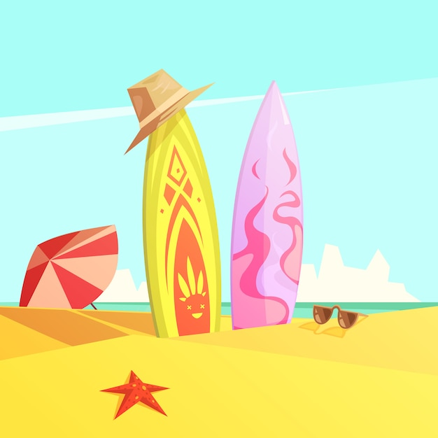 Couple of bright serf on sand beach Free Vector