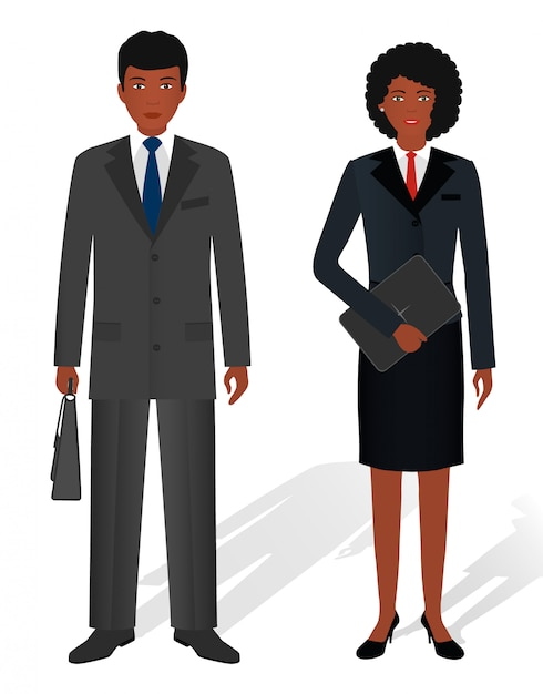 Couple of business african american man and woman on white Premium Vector