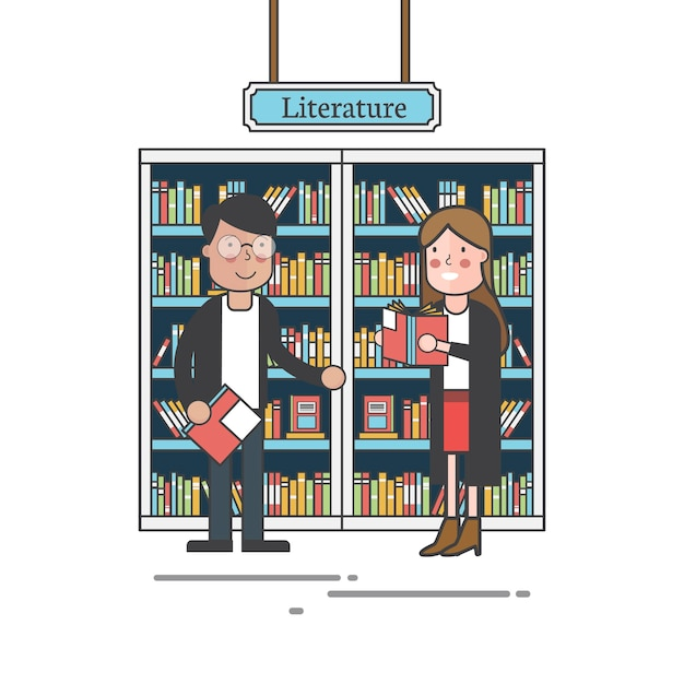 Couple by the bookshelves vector Free Vector