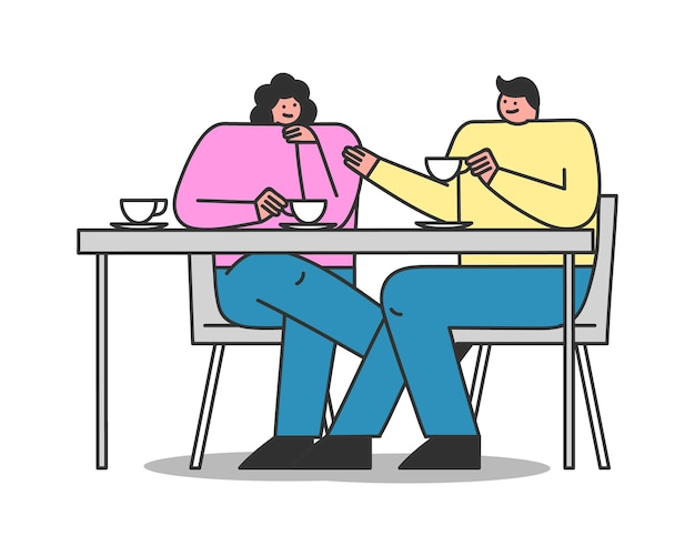 Couple in cafe. cartoon characters sitting at table, drinking tea or coffee and talking. friends meeting or date Premium Vector