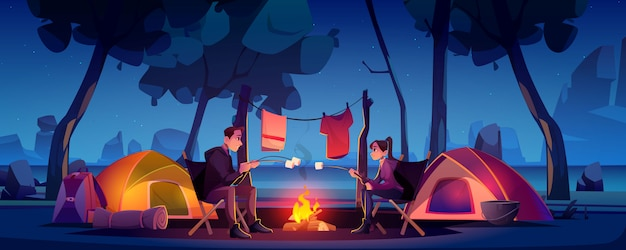 Couple in camp with tent and campfire at night Free Vector