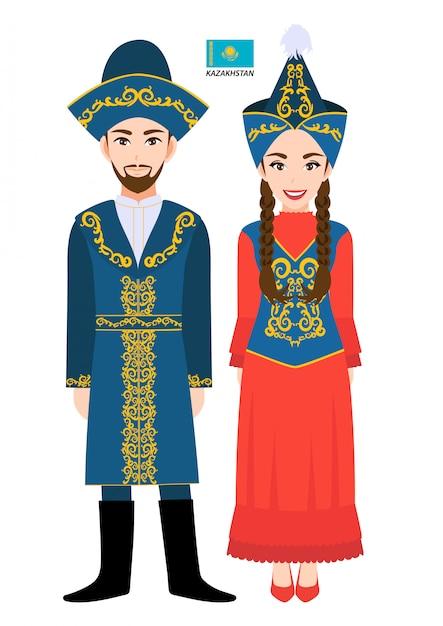 Premium Vector Couple Of Cartoon Characters In Kazakhstan Traditional Costume