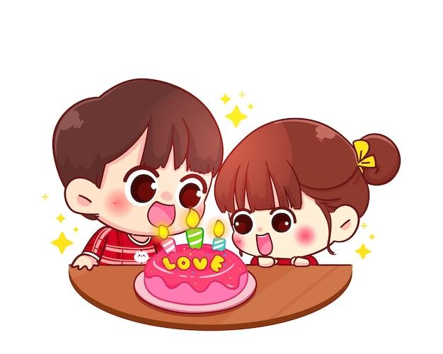 カップルはケーキ、幸せなバレンタイン、漫画のキャラクターのイラストで幸せな誕生日を祝う Premiumベクター
