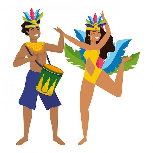 Couple celebrating brazil canival vector illustration Premium Vector