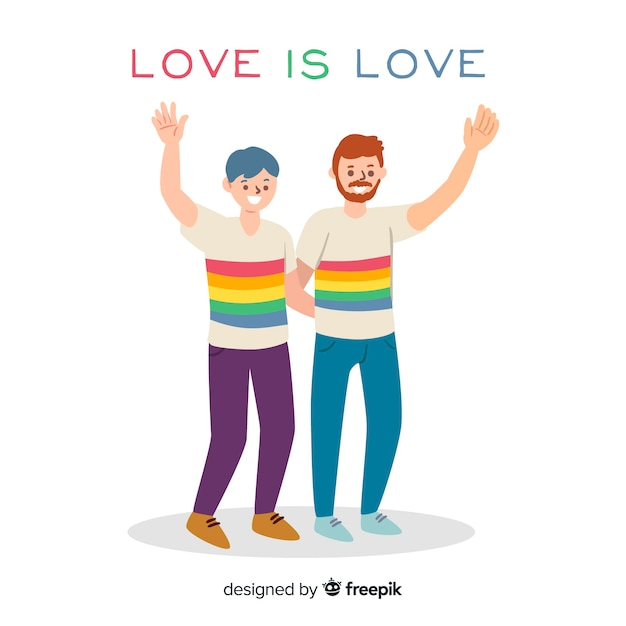 Couple celebrating pride day Free Vector