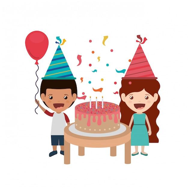 Couple of children in birthday celebration Premium Vector