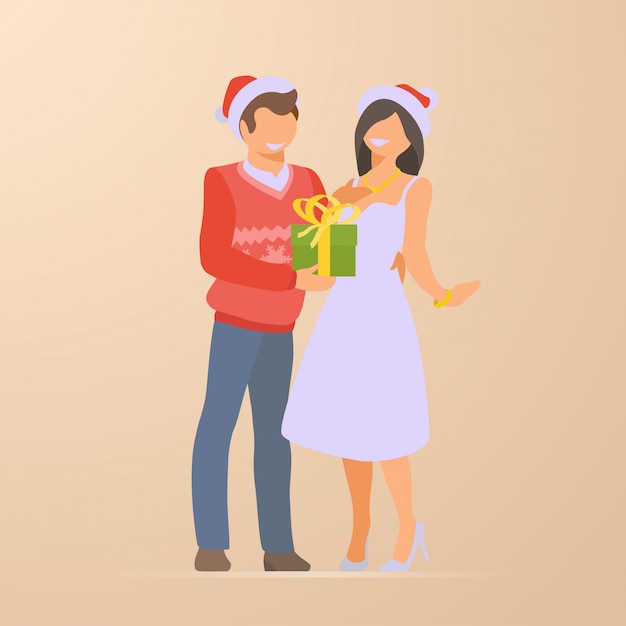 Couple at christmas holidays flat illustration Free Vector
