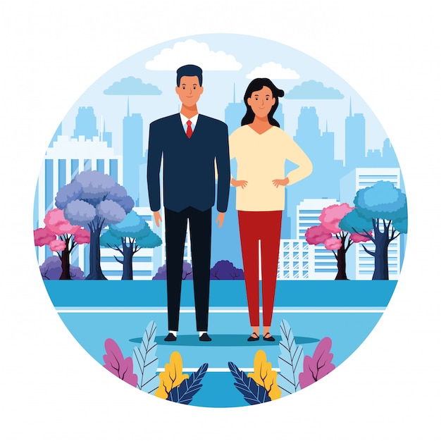 Couple in the city Premium Vector