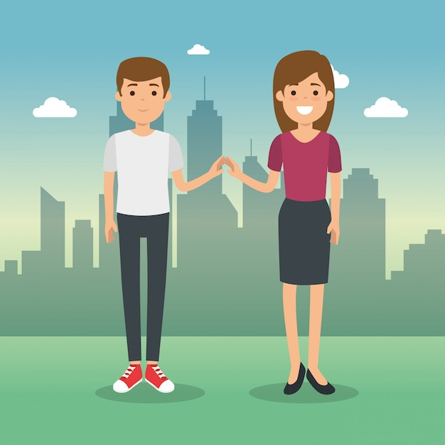 Couple in cityscape characters Free Vector