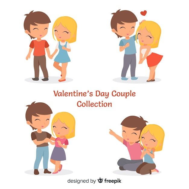Couple collection for valentines day Free Vector