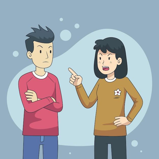 Иллюстрация концепции конфликтов пар Бесплатные векторы