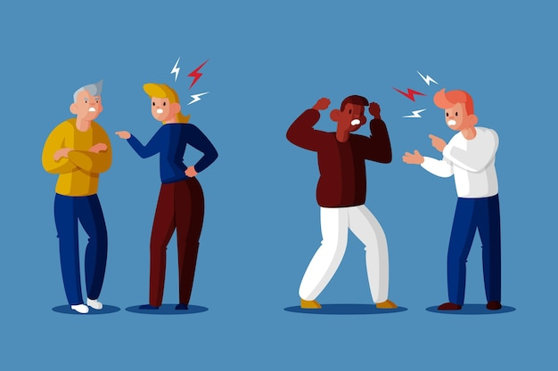 Couple conflicts concept Free Vector