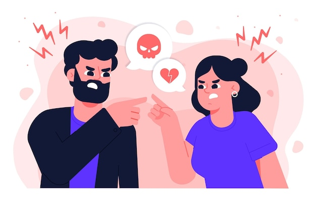Free Vector | Couple conflicts illustration