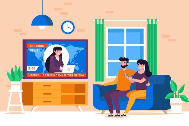 Couple on couch watching the news Premium Vector